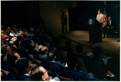 Pres. Reagan accepts Project Economic Justice report
